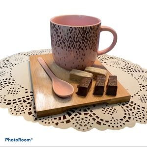 Indigo pink and gold cup spoon and board tea set